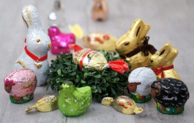 German Easter chocolate bunnies and eggs